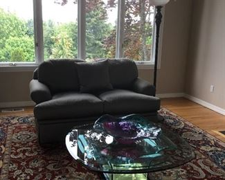1 of 2 Marge Carson Loveseats.  Blown Art Glass Bowl w/ Ruffled Edge. Torchiere Style Floor Lamp.  (Coffee Table Not For Sale.)