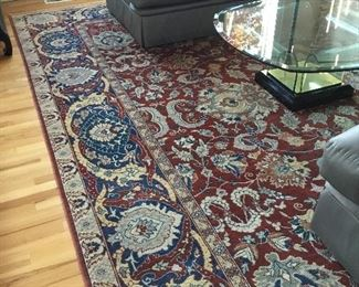 Turkish Area Rug 10ft. x 4ft.8in. Ottoman Series Pattern made of virgin wool and vegetable dyes. Purchased in Turkey.