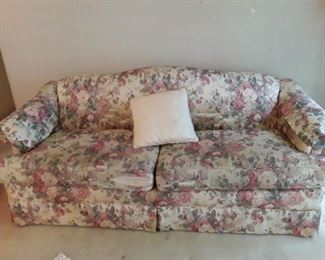 Solid loveseat. Needs new upholstery.