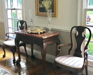 Marble topped table is from the Baker Stately Homes Collection. Painting shown is not for sale
