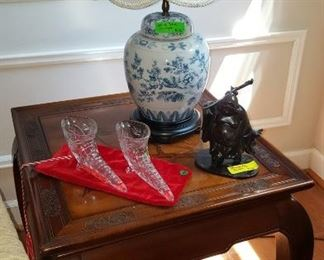 Beautiful asian inspired details in Two end tables and matching coffee table.