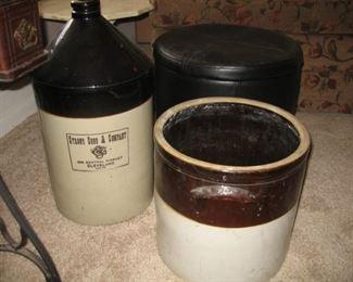 Liquor Jug - Butter Turn Base - Leather Ottoman