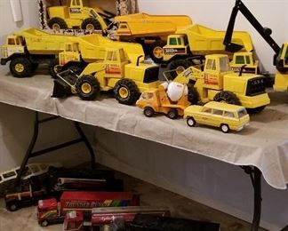 Great selection of vintage TONKA trucks & other vintage toys