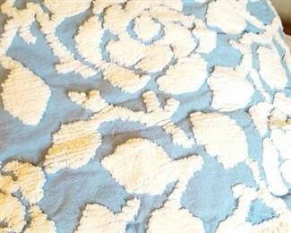 VIntage blue chenille bedspread