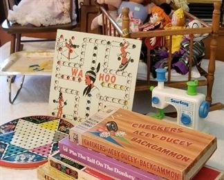 Vintage games, toys, dolls, Vabbage Patch dolls, Wa Hoo board, puzzles, etc....