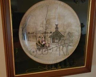 P Buckley Moss framed plate