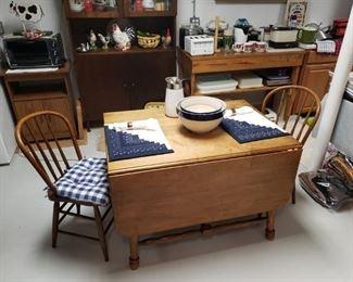 Maple dropleaf Oak chairs