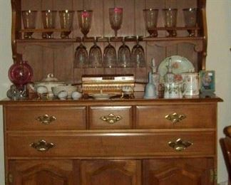 China cabinet and beautiful vintage crystal stemware.