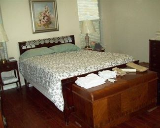 Full sized headboard & bedframe.  Queen sized mattress & springs.  Lane cedar chest.