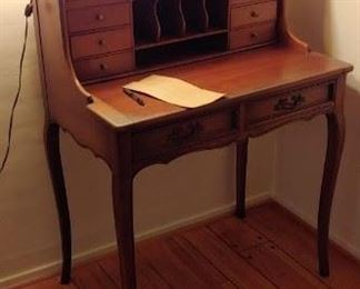 Secretary Desk and brass lamp