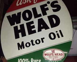 Ask For Wolf's Head Motor Oil Sign With Bracket