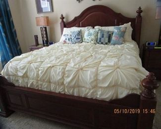 Ornate, Beautiful Cherry (King-Size) Bed, 2 Cherry Matching End Tables...