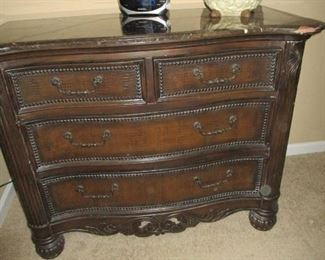 Ornate Chest with Dark Marble Top.. Can be used in an Entry Hall, Bedroom, LR, etc...
