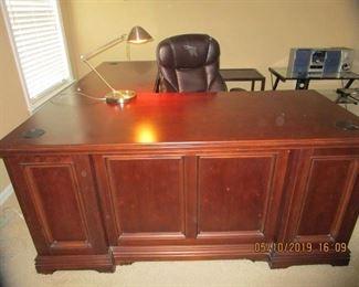 Beautiful Cherry Raised Panel Desk - L-Shape & other office furnishings.  See thru Computer glass desk, Radio's, Electronics, File Cabinet...