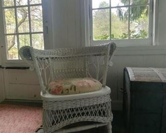 A more diminutive wicker chair