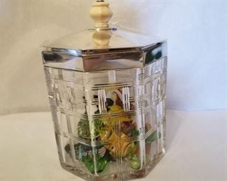 Lovely English cut glass, sterling top candy dish
