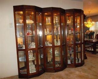 3 separate curio cabinets