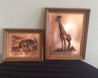 Elephant and Giraffe Wall Hangings