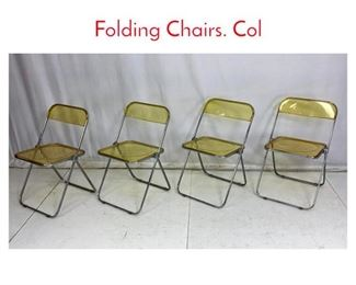 Lot 704 Set 4 CASTELLI Italian Lucite Folding Chairs. Col