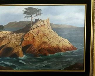 Vintage signed oil on canvase. The lone cypress.