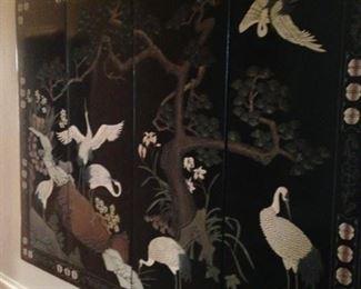 4-panel Asian wall screen