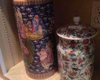 Colorful Asian lidded jars