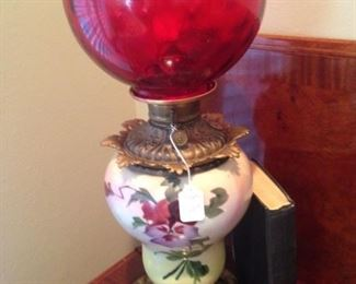 Stunning cranberry lamp