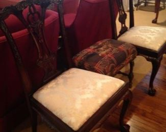 Two of the 10 dining chairs