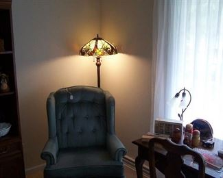 THE OTHER BLUE WING CHAIR & NEWER LEADED GLASS LAMP
