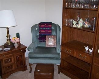 ONE OF A PAIR OF BRASS LAMPS & MAHOGANY CABINETS, BLUE WING CHAIR, BOOKSHELF UNIT & SMALLS