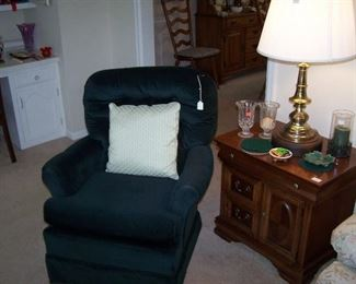 DARK GREEN SWIVEL ROCKER, THE OTHER BRASS LAMP, MAHOGANY CABINET & SMALLS