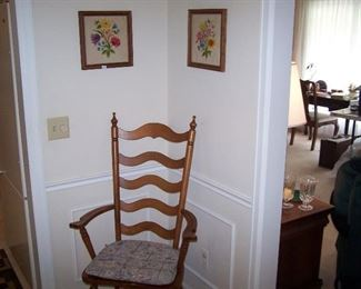 ONE OF THE MAPLE ARMCHAIRS TO DINING SET & FRAMED NEEDLEWORK