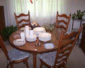 MAPLE DINING TABLE ( HAS 4 LEAVES & 2 MORE ARMCHAIRS), CASUAL DINNERWARE & MISC.