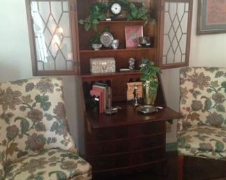 Antique secretary; matching parsons chairs