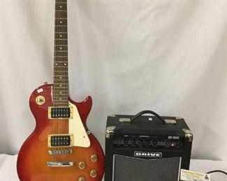 Lot 30  - Gibson Epiphone - Les Paul style electric guitar w/ Drive - CD 100B practice amp