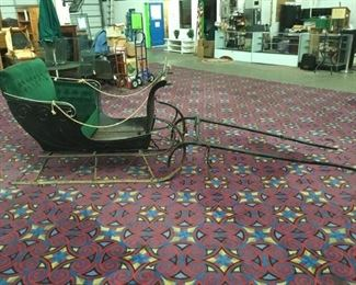 Lot 103 - Antique Horse Driven Sleigh w/ cushioned seat by the Baynes Carriage Co, Hamilton Canada