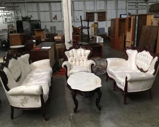 Lot 226 - Cellini Furniture Couch, loveseat, armchair and coffee table with marble top living room set