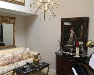 Drexel Heritage couch, fine oriental rug, wood and marble accent pieces, paintings, mirror with matching table (not pictured)