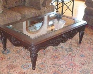 CARVED COFFEE TABLE         ROOM SIZE CARPET