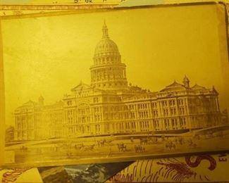 Antique Carte de Viste of Texas Capital- Horses and Buggies- No cars