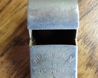 Army brass whistle. Brass bell and thimbles https://ctbids.com/#!/description/share/159330