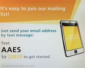 Sign up for our emails!! Text AAES to 22828! :)