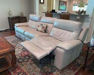 Nice Off White Leather Sofa with Two Recliners, Storage in Arms