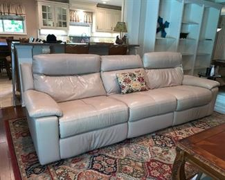 Nice Off White Leather Sofa with Two Recliners, Storage in Arms by HWA TAT LEE