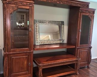 Gorgeous Entertainment Center with Glass Doors, Storage and Matching  Coffee Table. Will Accommodate Huge Flat Screen TV!