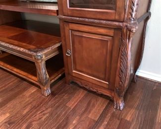 Gorgeous Entertainment Center with Glass Doors, Storage and Matching  Coffee Table. Will Accommodate Huge Flat Screen TV! Note Intricate Carving!