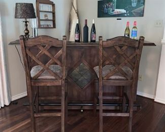 Awesome Bar with Two Barstools,, Includes Footrest