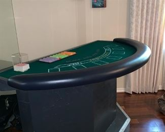 Blackjack Table Complete with Card Holder and Chips