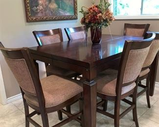 "Lovely Pub Height Dining Table with Hidden Leaf, Six Chairs.  40"" X 60"""