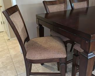 Lovely Pub Height Dining Table with Hidden Leaf Extended, Six Chairs